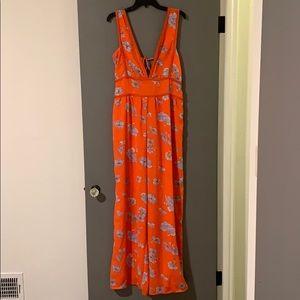 Orange Floral Jumpsuit (Long)